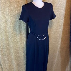 Vintage 80s black dress with silver belt